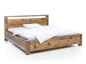 Woodkings Bett 180x200 Havelock Doppelbett recycelte Pinie rustikal Schlafzimmer Massivholz Design Ehebett Balkenbett Massive Naturmöbel Echtholzmöbel günstig - 2
