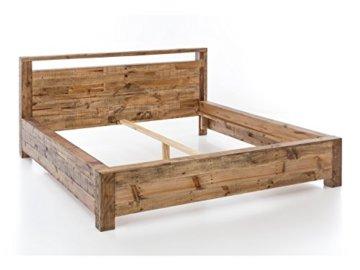 Woodkings Bett 180x200 Havelock Doppelbett recycelte Pinie rustikal Schlafzimmer Massivholz Design Ehebett Balkenbett Massive Naturmöbel Echtholzmöbel günstig - 3