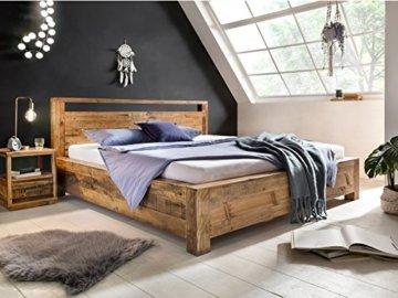 Woodkings Bett 180x200 Havelock Doppelbett recycelte Pinie rustikal Schlafzimmer Massivholz Design Ehebett Balkenbett Massive Naturmöbel Echtholzmöbel günstig - 1