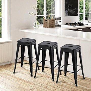 Yaheetech 4 x Metall Barhocker Bistrostuhl stapelbar Barstuhl Industry Design bis 150kg schwarz - 4
